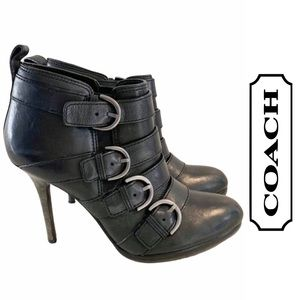 Coach Buckle Detail Black Leather Booties,  7